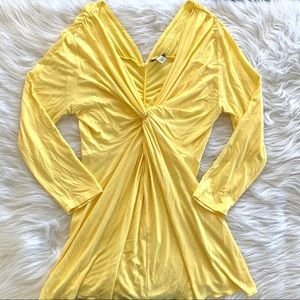 Boston Proper Yellow Ruched Drape Knot V Neck Top